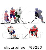 Royalty Free RF Clipart Illustration Of A Digital Collage Of Hockey Players by leonid