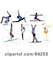 Royalty Free RF Clipart Illustration Of A Digital Collage Of Female Gymnasts by leonid #COLLC69255-0100