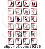 Royalty Free RF Clipart Illustration Of A Digital Collage Of Athletic Icons With Athletes In Red Squares by leonid