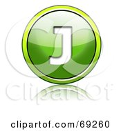 Royalty Free RF Clipart Illustration Of A Shiny 3d Green Button Capital J by chrisroll
