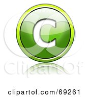 Royalty Free RF Clipart Illustration Of A Shiny 3d Green Button Capital C by chrisroll
