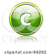 Royalty Free RF Clipart Illustration Of A Shiny 3d Green Button Lowercase C by chrisroll