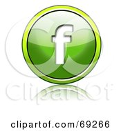 Royalty Free RF Clipart Illustration Of A Shiny 3d Green Button Lowercase F by chrisroll