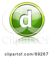 Royalty Free RF Clipart Illustration Of A Shiny 3d Green Button Lowercase D by chrisroll