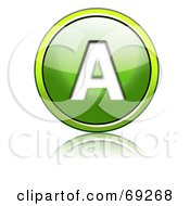 Royalty Free RF Clipart Illustration Of A Shiny 3d Green Button Capital A by chrisroll