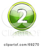 Royalty Free RF Clipart Illustration Of A Shiny 3d Green Button Number 2 by chrisroll