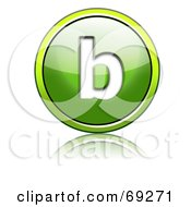 Royalty Free RF Clipart Illustration Of A Shiny 3d Green Button Lowercase B by chrisroll