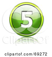 Royalty Free RF Clipart Illustration Of A Shiny 3d Green Button Number 5 by chrisroll