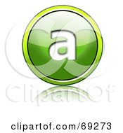 Royalty Free RF Clipart Illustration Of A Shiny 3d Green Button Lowercase A by chrisroll