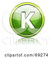 Royalty Free RF Clipart Illustration Of A Shiny 3d Green Button Capital K by chrisroll