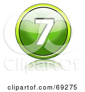 Royalty Free RF Clipart Illustration Of A Shiny 3d Green Button Number 7 by chrisroll