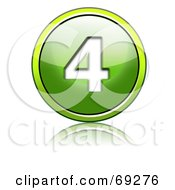 Royalty Free RF Clipart Illustration Of A Shiny 3d Green Button Number 4 by chrisroll