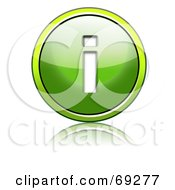 Royalty Free RF Clipart Illustration Of A Shiny 3d Green Button Lowercase I by chrisroll