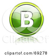 Royalty Free RF Clipart Illustration Of A Shiny 3d Green Button Capital B by chrisroll