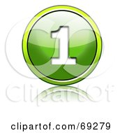 Royalty Free RF Clipart Illustration Of A Shiny 3d Green Button Number 1 by chrisroll