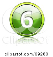 Royalty Free RF Clipart Illustration Of A Shiny 3d Green Button Number 6 by chrisroll