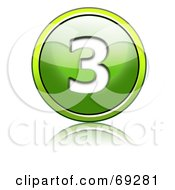 Royalty Free RF Clipart Illustration Of A Shiny 3d Green Button Number 3 by chrisroll