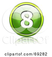 Royalty Free RF Clipart Illustration Of A Shiny 3d Green Button Number 8 by chrisroll