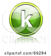 Royalty Free RF Clipart Illustration Of A Shiny 3d Green Button Lowercase K by chrisroll