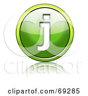 Royalty Free RF Clipart Illustration Of A Shiny 3d Green Button Lowercase J by chrisroll