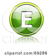 Royalty Free RF Clipart Illustration Of A Shiny 3d Green Button Capital E by chrisroll