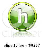 Royalty Free RF Clipart Illustration Of A Shiny 3d Green Button Lowercase H