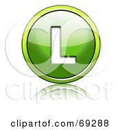 Royalty Free RF Clipart Illustration Of A Shiny 3d Green Button Capital L