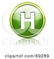 Royalty Free RF Clipart Illustration Of A Shiny 3d Green Button Capital H