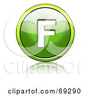 Royalty Free RF Clipart Illustration Of A Shiny 3d Green Button Capital F