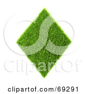 Royalty Free RF Clipart Illustration Of A Grassy 3d Green Symbol Diamond by chrisroll