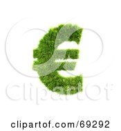 Royalty Free RF Clipart Illustration Of A Grassy 3d Green Symbol Euro by chrisroll