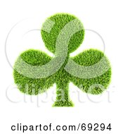 Royalty Free RF Clipart Illustration Of A Grassy 3d Green Symbol Club by chrisroll