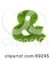 Royalty Free RF Clipart Illustration Of A Grassy 3d Green Symbol Ampersand