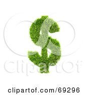 Royalty Free RF Clipart Illustration Of A Grassy 3d Green Symbol Dollar by chrisroll