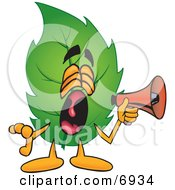 Clipart Picture Of A Leaf Mascot Cartoon Character Screaming Into A Megaphone by Toons4Biz
