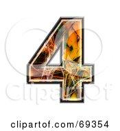 Royalty Free RF Clipart Illustration Of A Fiber Symbol Number 4