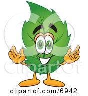 Clipart Picture Of A Leaf Mascot Cartoon Character