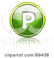 Royalty Free RF Clipart Illustration Of A Shiny 3d Green Button Capital P