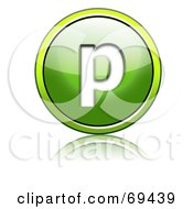 Royalty Free RF Clipart Illustration Of A Shiny 3d Green Button Lowercase P