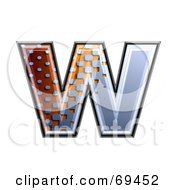 Royalty Free RF Clipart Illustration Of A Metal Symbol Lowercase W by chrisroll