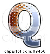 Royalty Free RF Clipart Illustration Of A Metal Symbol Capital Q by chrisroll