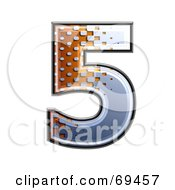 Royalty Free RF Clipart Illustration Of A Metal Symbol Number 5