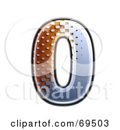 Royalty Free RF Clipart Illustration Of A Metal Symbol Number 0