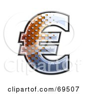 Royalty Free RF Clipart Illustration Of A Metal Symbol Euro by chrisroll