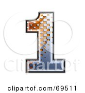 Royalty Free RF Clipart Illustration Of A Metal Symbol Number 1