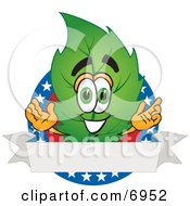Clipart Picture Of A Leaf Mascot Cartoon Character With Stars And A Blank Label