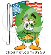 Leaf Mascot Cartoon Character Pledging Allegiance To An American Flag