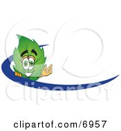 Leaf Mascot Cartoon Character Logo With A Blue Dash