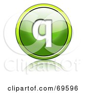 Royalty Free RF Clipart Illustration Of A Shiny 3d Green Button Lowercase Q