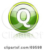 Royalty Free RF Clipart Illustration Of A Shiny 3d Green Button Capital Q